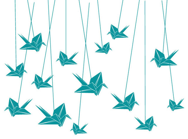 Surface Collective - Origami Cranes Wall Tattoo modern-wall-decals