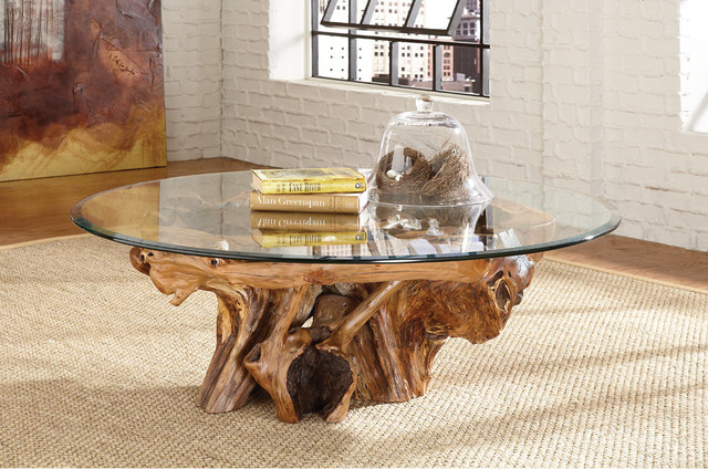 Tree Root Glass Top Coffee Table Hidden Treasures by  : eclectic coffee tables from www.houzz.com size 640 x 424 jpeg 122kB