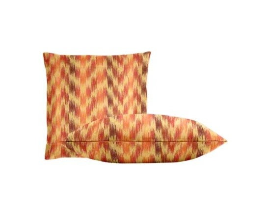 """Cushion Source - Sunbrella Pulse Sunset Throw Pillow Set - The Sunbrella Pulse Sunset Outdoor Throw Pillow Set consists of two 18"""" x 18"""" throw pillows featuring an ikat chevron print in terracotta, blush, melon, and wheat."""