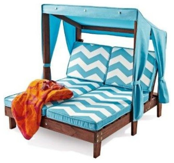 Kidkraft outdoor kids 39 double chaise lounge chair with for Baby chaise lounge