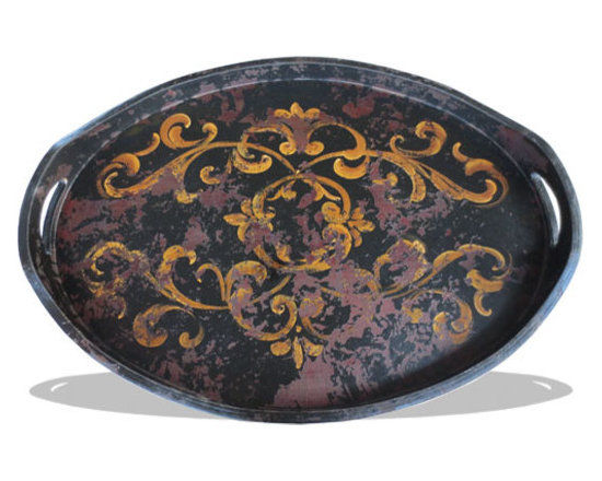 Art and Accessories - This accessory tray is hand painted and hand crafted from eco-friendly material and is stylized with a distressed scroll design. See more online at www.KoenigCollection.com or at a local Houston showroom!