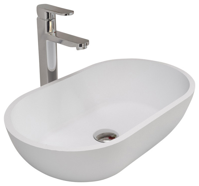 All In One Bathroom Sink And Countertop : ADM White Countertop Stone Resin Sink - Contemporary - Bathroom Sinks ...