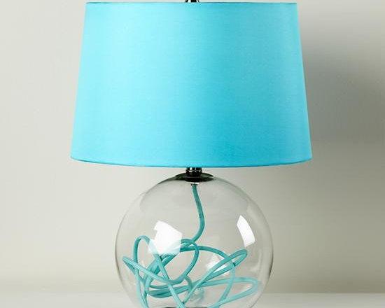 Crystal Ball Table Lamp, Aqua -