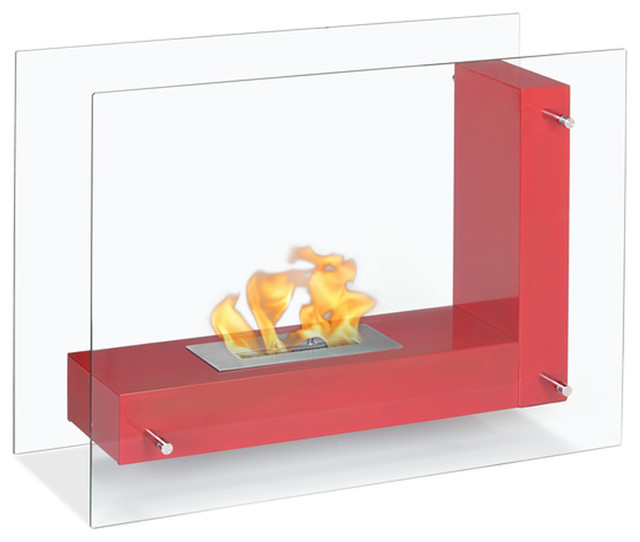 Vitrum L Red Freestanding Ventless Ethanol Fireplace