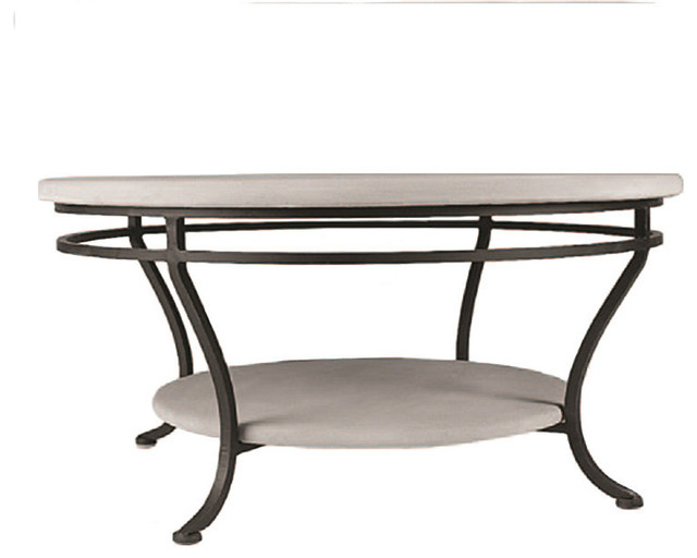 Acacia round double tiered outdoor coffee table black for Double round coffee table