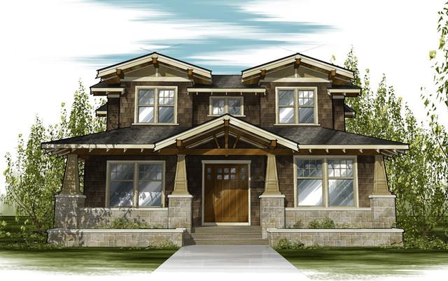Front Elevation Craftsman : Craftsman style home traditional exterior elevation