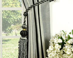 Grey Vertical Stripe Grommet Chenille Curtains traditional-curtains
