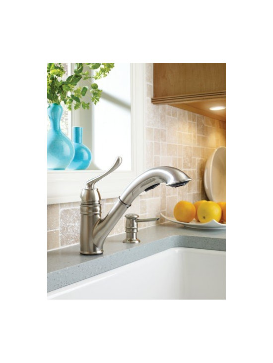 Moen Dorsey Spot resist stainless one-handle high arc kitchen faucet - The styling of the Dorsey™ line blends perfectly with any decor.