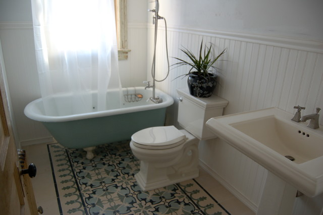 Awesome Cement Tiles Add Up To A Beautiful Bathroom Floor  The Cement Tile