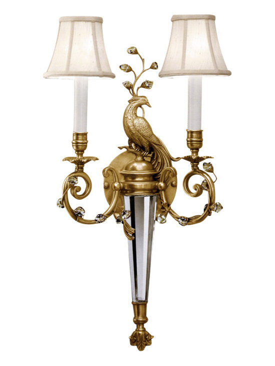"Inviting Home - Brass and Cystal Sconce with peacock motif - Crystal sconce; 14-1/2""W x 6-1/2""D x 23-1/4""H ; available in facing pair ; This beautifully designed outstanding quality hand crafted wall sconce with peacock motif is a truly a work of art. Just like in nature the combination of different textures exists in harmony the antiqued brass perfectly balances the shimmer of stunning crystal and unruly wined brass branches is in complete unison with the clean precisely cut crystals. This beautiful sconce hand-crafted from solid antiqued brass and solid crystal. Sconce has two round piped fabric shades. This electrified wall sconce designed with two lights for candelabra bulbs only. UL approved - dry location; hardwire; 2x 60W max. candelabra bulds; bulbs not included."