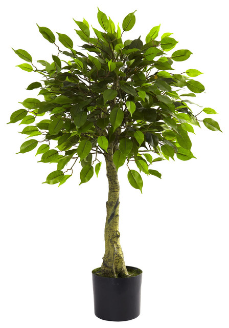 Nearly Natural 3' Ficus Tree UV Resistant (Indoor/Outdoor) - Traditional - Artificial Plants And ...