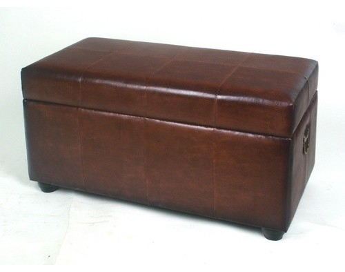 Leather Bedroom Storage Ottoman - Modern - Bedroom Benches - by ...