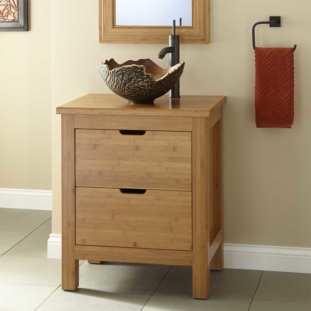 24 Torrance Narrow Bamboo Vessel Sink Console Vanity Contemporary B