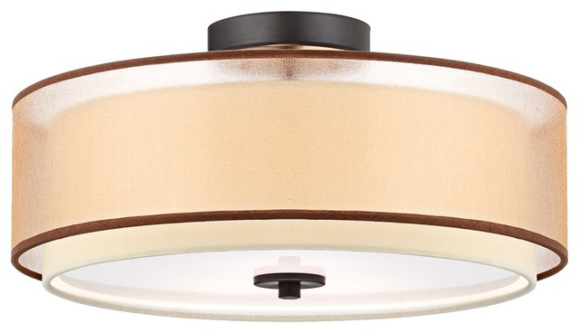 """Double Drum 16"""" Wide Bronze Organza Ceiling Light contemporary-ceiling-lighting"""