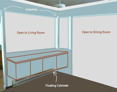 After Kitchen - removed walls, floating cabinets, add columns floor-plan