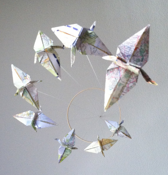 Atlas Spiral Origami Crane Mobile by Meligami contemporary mobiles