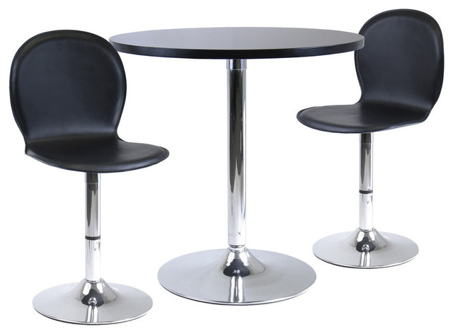 Winsome Wood Spectrum 3 Piece Round Dinning Table & 2 Swivel Faux Leather Chairs contemporary-dining-sets