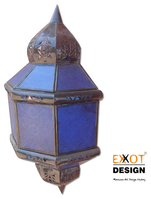 Handmade Metal Wall Sconces : Moroccan metal color glass handmade wall lamp - Mediterranean - other metro - by EXXOT DESIGN ...