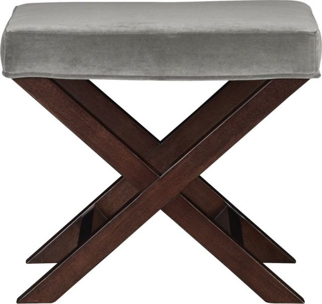 X-base Bench/Vanity Stool, Como Nickel - Modern - Vanity ...