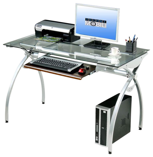 techni mobili glass top computer desk in clear modern desks and hutches by beyond stores