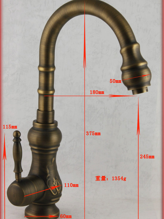 Luxury Single Handle Sculpture antique Brass Kitchen Faucet DL-2015 - Features: