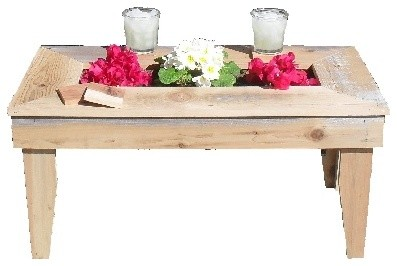 Rustic Wood Table with built in planter rustic-side-tables-and-end-tables
