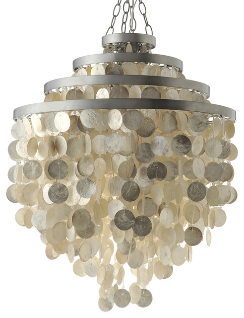 Capiz Shell Chandelier Champagne Beach Style