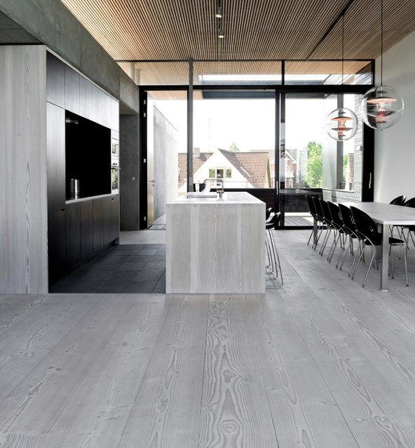 Grey Kitchen with Hardwood Floors 592 x 640