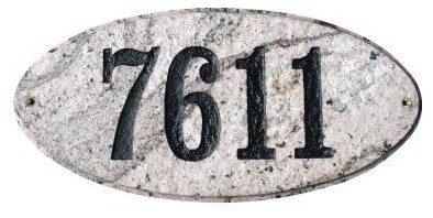 Solid Granite Address Plaque, Rockport Oval, Emerald Green Polished modern-house-numbers