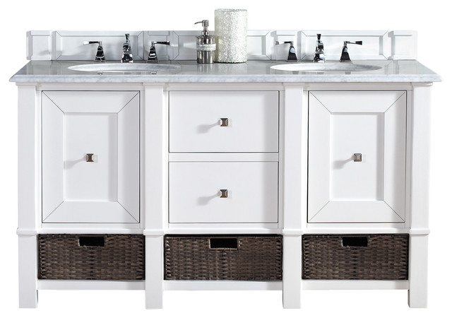 James Martin Madison 60 Cottage White Double Vanity Carrera White Ston