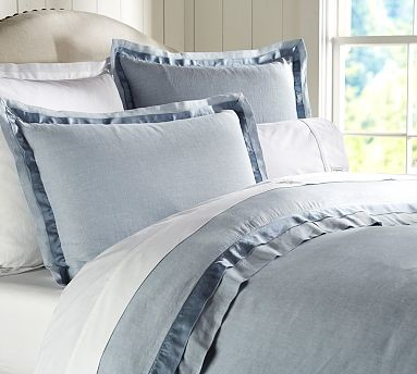 Linen with Silk Trim Duvet Cover, Full/Queen, Ashley Blue traditional-duvet-covers-and-duvet-sets