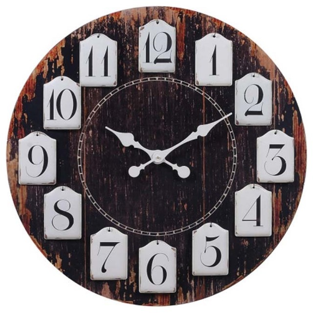 Weathered Clock with Hanging Metal Numbers eclectic-clocks