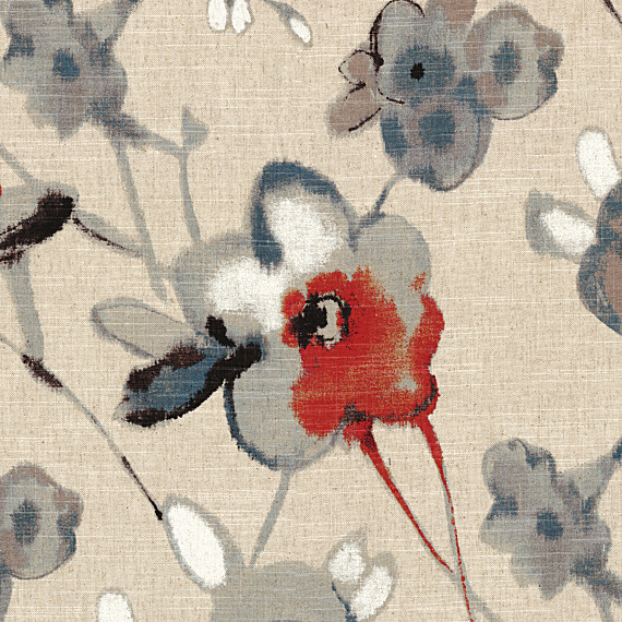 Red Blue Flax Painted Floral Fabric Modern Upholstery Fabric By