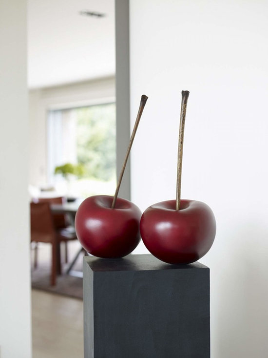 ACCENTS - Selma Calheira's ceramic cherries - each hand crafted - wood stems.  See apples photo for more details.