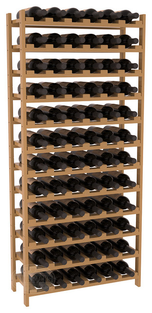 72 Bottle Stackable Wine Rack in Pine with Oak Stain + Satin Finish traditional-wine-racks