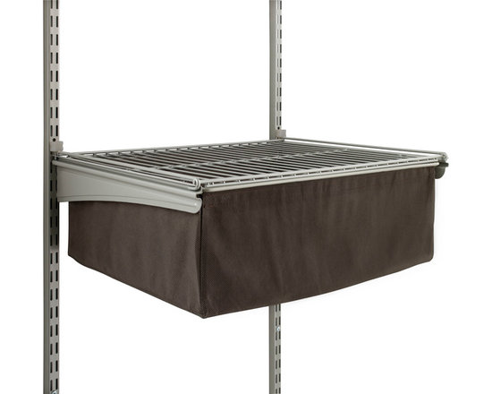 Fabric Drawer With Frame - This roomy non-woven fabric pull-out drawer unit attaches to ClosetMaid's�ShelfTrack�frame kit and standards or ClosetMaid's Basket System (sold separately). Comes pre-assembled.
