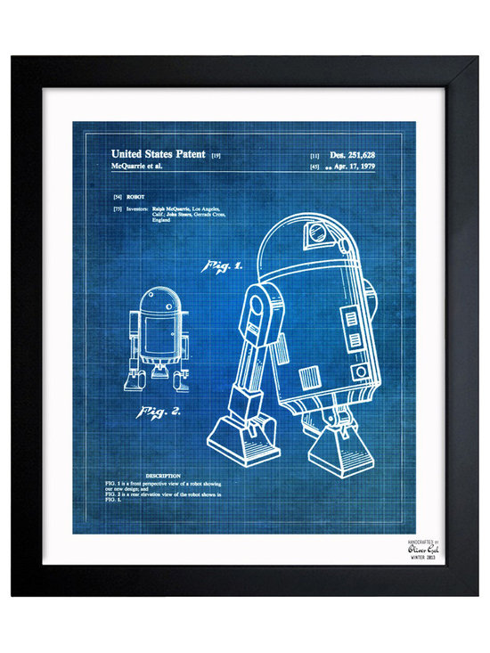 """The Oliver Gal Artist Co. - 'Robot II 1979' Framed Art - Exclusive blueprints inspired by real vintage patent drawings & illustrations. Handcrafted in the Oliver Gal Artist Co. Studios in Miami, Florida. Produced on matte proofing paper and hand framed by professional framers in a 1.2"""" premium black wood frame. Perfect for any interior design project, gifts, office décor, or to add special value to one of your favorite collections."""