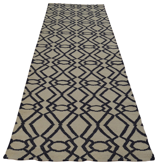 3'x10' Runner Hand Woven 100% Wool Geometric Durie Kilim