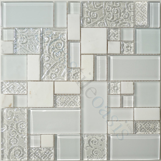 Ice Unique Shapes White Backsplash Glossy and Frosted Glass and Stone modern-tile
