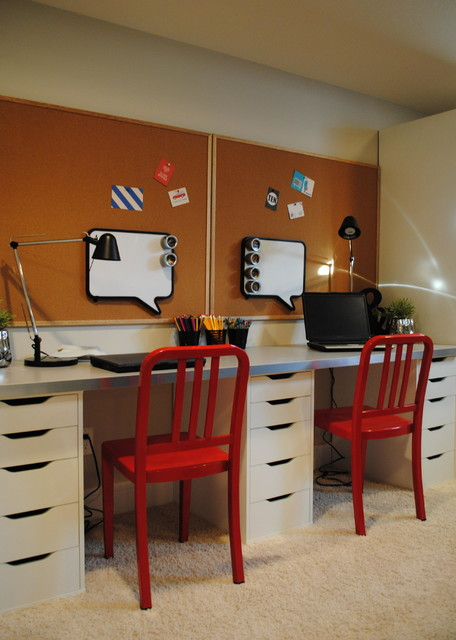 Family Friendly Basement transitional-home-office