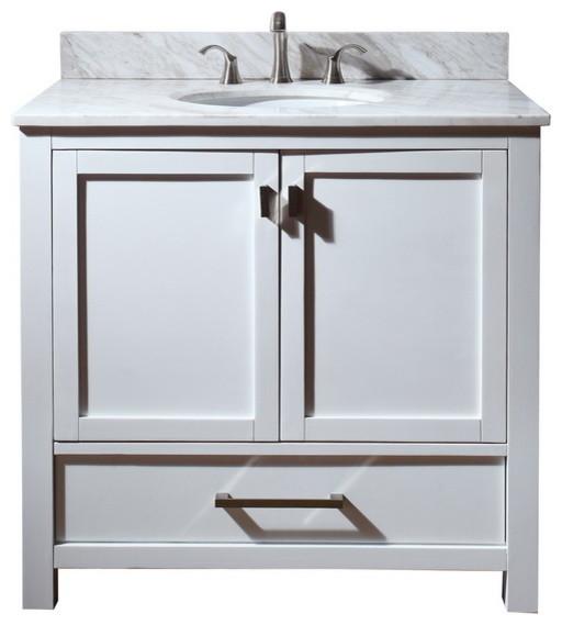 modero 36 vanity combo white white marble top