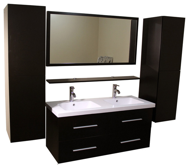 kokols double vanity cabinet with side cabinets and mirror