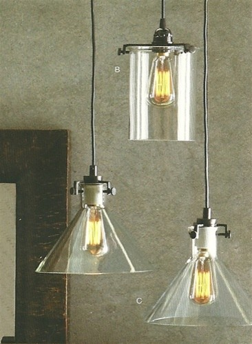 Clear Glass Collection Bronze 1 Light Pendant traditional-pendant-lighting