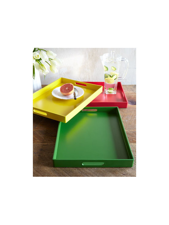 Horchow - Handled Tray - Serving beverages on the veranda or breakfast in bed? Turning a favorite ottoman into a coffee table alternative? Whatever you're need, this tray delivers with cheerful color and ease of service. Made of easy-care polypropylene. Select color when orde...