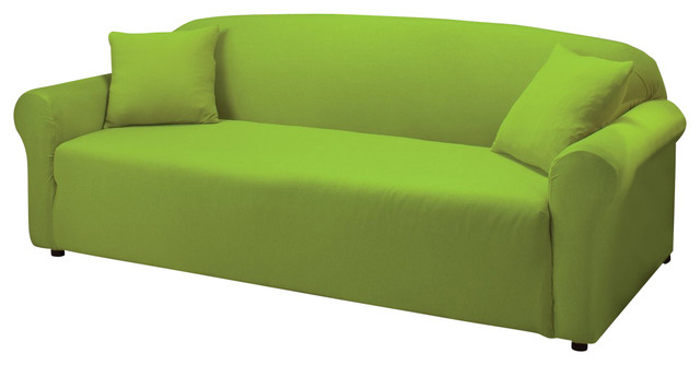 jersey stretch slipcover lime green sofa contemporary