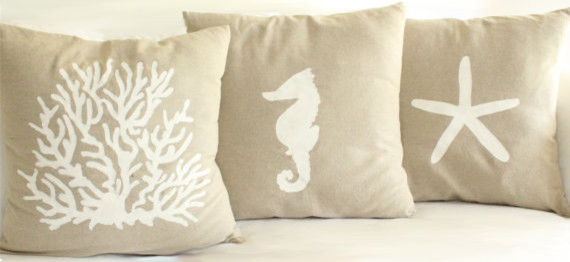 Linen Cotton Nautical Hand-Painted Pillow Cover by Madelleine