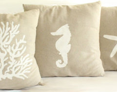 Linen Cotton Nautical Hand-Painted Pillow Cover by Madelleine Grace tropical-decorative-pillows