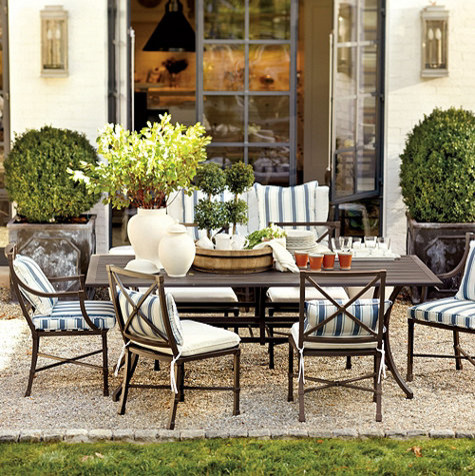Suzanne Kasler Directoire 7-Piece Rectangular Dining Set - 84 Inch traditional-outdoor-tables