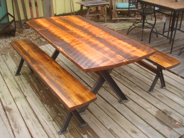 Antique Reclaimed Dining Table and Benches with Steel Base contemporary-dining-tables