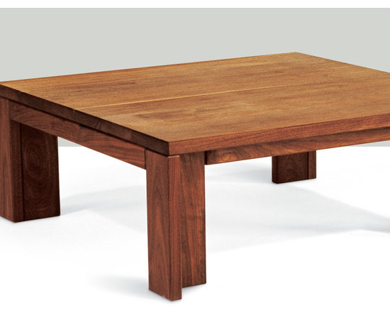 Insight Square Coffee Table - The appeal of this solid wood coffee table comes from its balanced proportions and the refined treatment of the inset rail and leg. It pairs nicely with streamlined contemporary sofas and sectionals.